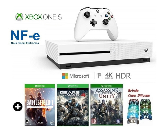 Xbox One S 1tb Slim C/ 3 Jogos Hdr 4k Microsoft + Brinde