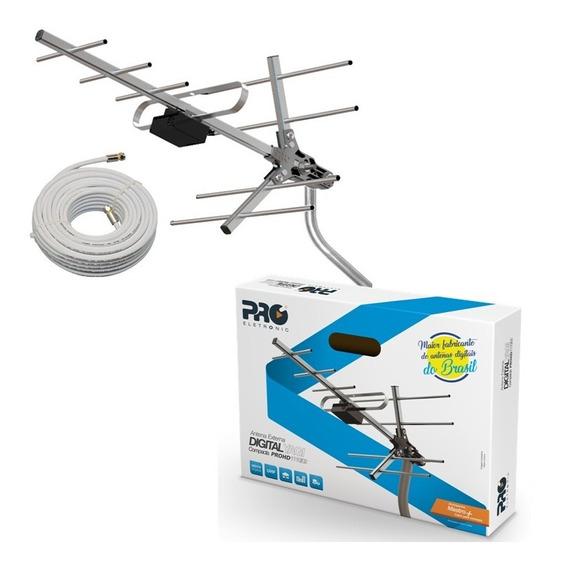 Kit Antena Uhf Digital Externa Yagi Pro Hd C/ Cabo E Suporte