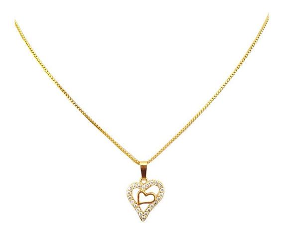 Colar Corrente Pingente Coração Mini Zircônia Folheado Ouro