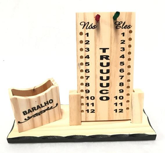 5 Caixa Jogo Truco Porta Baralho Cartas Marcador Pontos