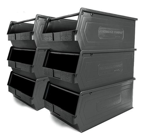 Imagen 1 de 7 de Kit 6 Gavetas Plásticas Apilables 4plz 50/45x30x20cm Negro