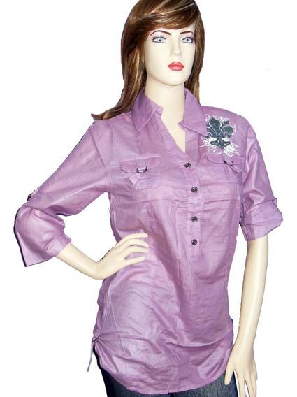 Camisas Largas Para Mujer Manga 3/4 Unicolor Botones Estampa