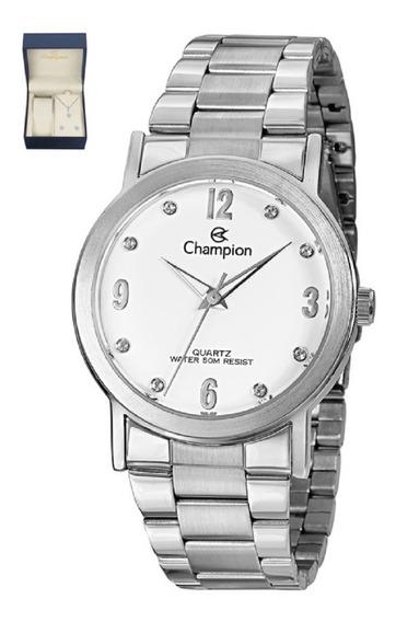 Relógio Feminino Champion Prateado Colar E Brincos Cn29025d