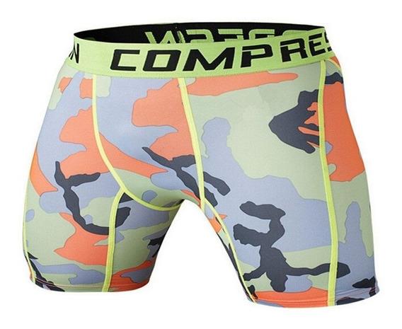Shorts Legging Masculino Compressão Camuflado Colorful Work