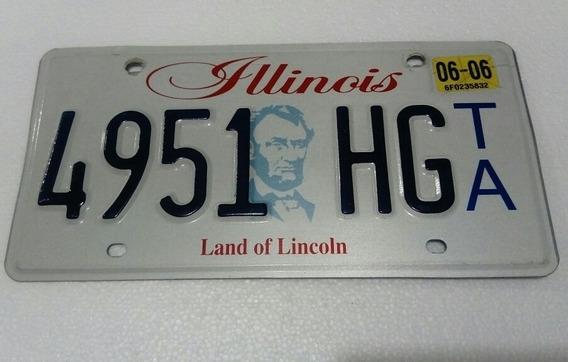 Placa Automovil Coleccion U S A, Illinois 4951 H, Decorativa