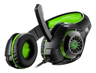 Headset Gamer Rama Warrior Led Verde Usb P2 P3 C/ Encaixe P/ Celular Pc Ajustável - Ph299