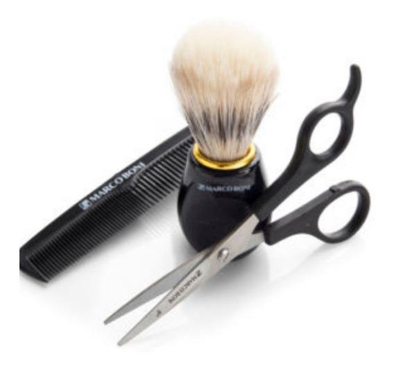 Kit Barber Shop - Tesoura Barba E Bigode + Pincel + Pente