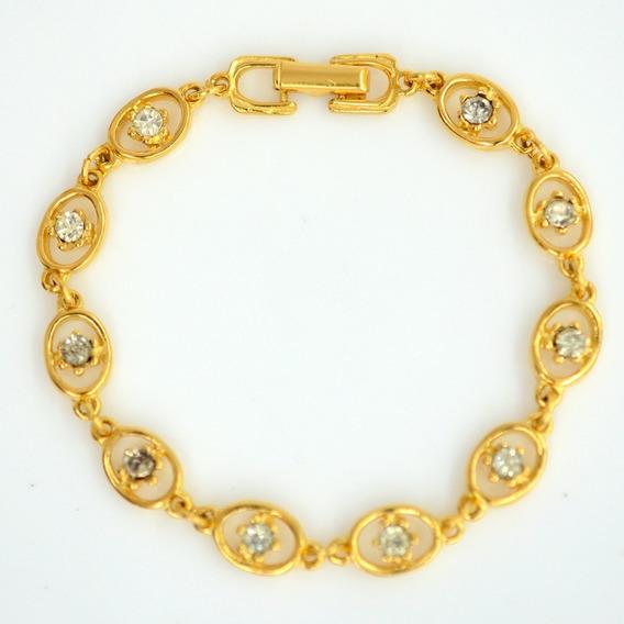 Pulseira Dourada Com Strass De 180mm | 1809