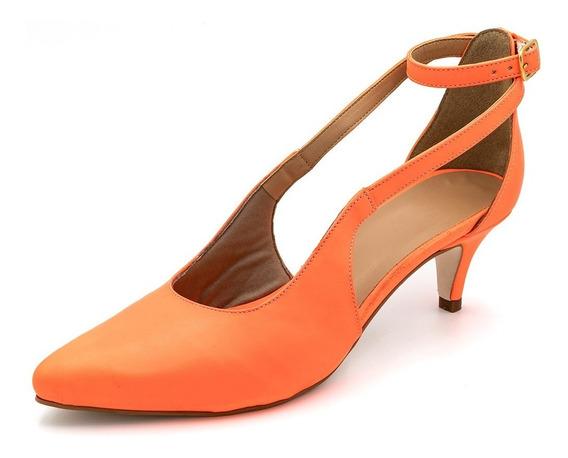 Sapato Scarpin Aberto Salto Baixo Fino Em Napa Laranja Neon
