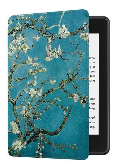Capa Novo Kindle Paperwhite 4 Hibernação Magnético Flores