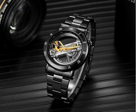 Relógio Forsining Preto Esqueleto Luxo Automático + Caixa