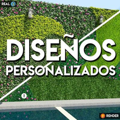 Diseño/ Render De Muro Verde Con 2 O 3 Follajes Artificiales