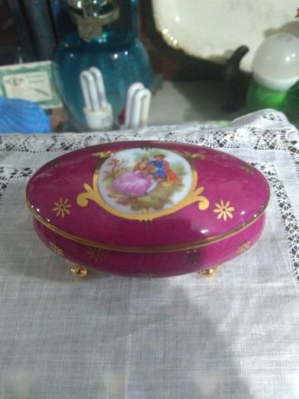Porta Jóias Em Porcelana De Limoges Cena Galante Com Pezinho