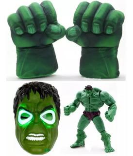 Combo Hulk X 4: 2 Puños Par + Mascara Luz Led + Muñeco Artic