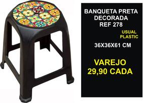 12 Banquetas Decorada Plastico Usual Plastic 36x36x41 Cm