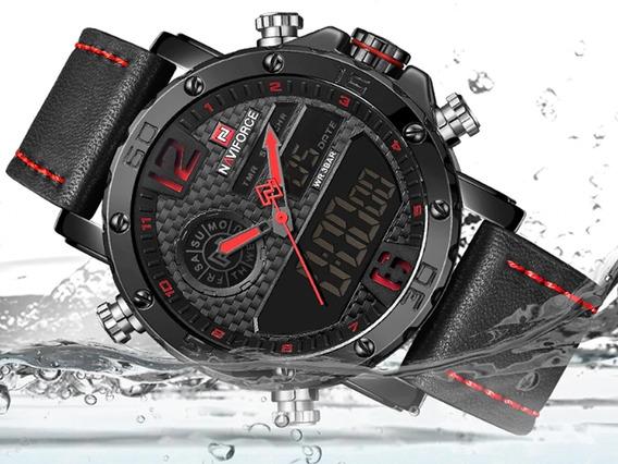 Relógio Masculino Militar Naviforce Pulseira Couro Top 9134