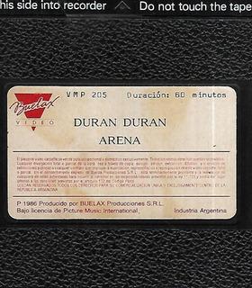 Duran Duran Arena Buelax Video Vhs Sin Caratula Musical