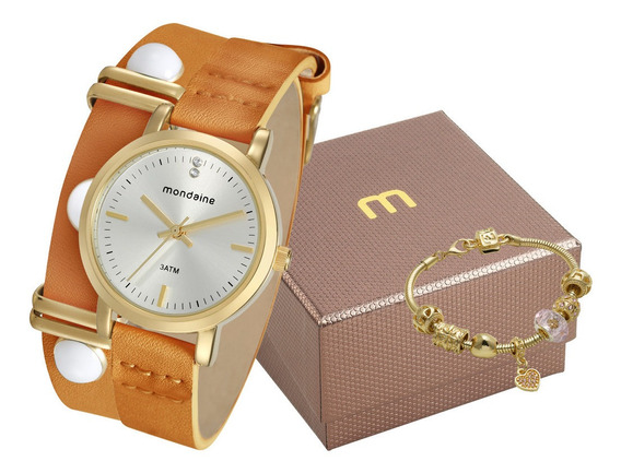 Relógio Feminino Couro Mondaine + Pulseira 76644lpmvdh1k2 Nf