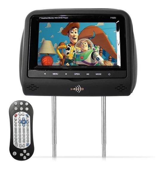 Tela Encosto Cabeça 7 Preto Lcd Com Leitor Dvd Sony Usb Som