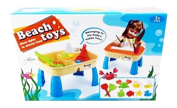 Mesa Infantil Estudo E Praia Com Guarda Brinquedos Baldinho