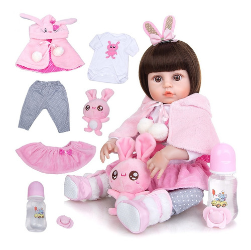Boneca Bebê Reborn Menina Silicone 48cm Olhos Castanho Ig520