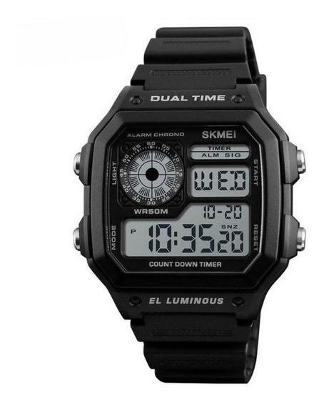 Relogio Skmei 1299 Vintage Crono Timer Wr50m Luz Tipo Ae1200