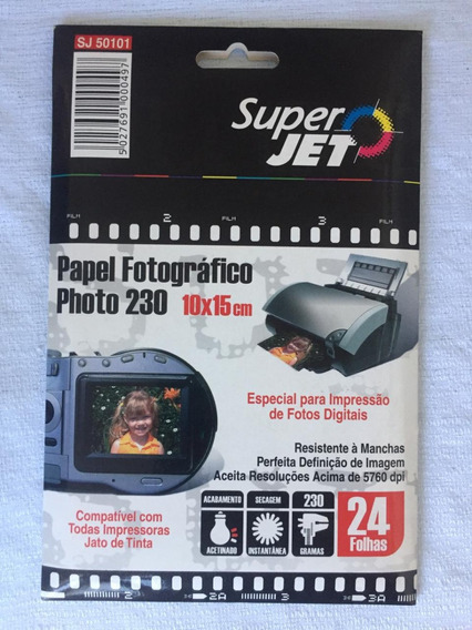 Papel Fotográfico Photo 230 10x15 Superjet 24 Folhas Sj50101