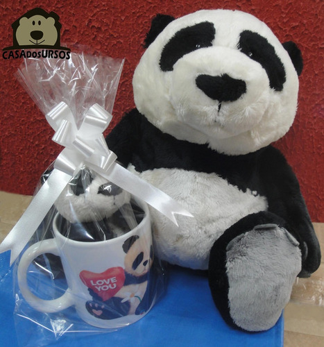 Imagem 1 de 7 de Caneca Porcelana + Ursinhos De Pelúcia Panda 35cm E 15cm