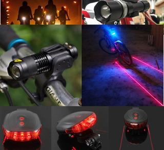 Kit Luces Bicicleta Delantera Y Trasera Con Doble Haz Laser