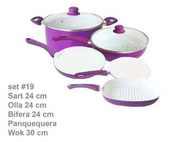 Set #19 Sarten 24+ Olla24 + Bifera+ Panque + Wok Cool Cerami