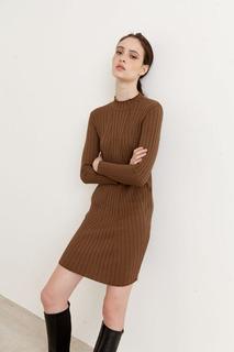 Sweater Vestido Mujer Liso Escote Redondo Manga Larga