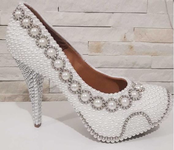 Sapato Customizado Strass E Pérola
