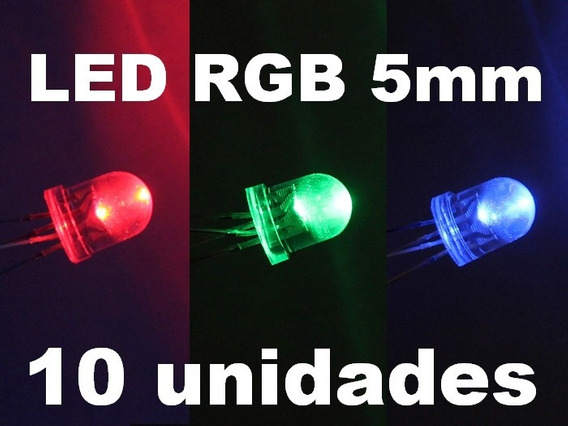 10pc Led 5mm Rgb 4 Terminais Anodo Comum Difuso