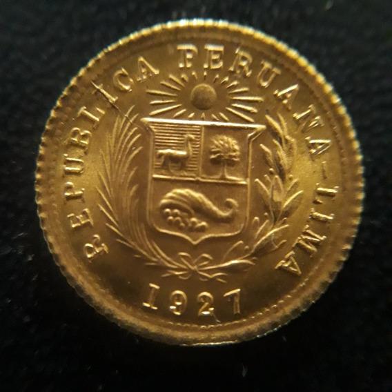 Moeda De Ouro Peru 1/5 Libra 1927 12xs/juros