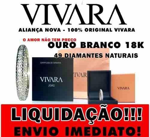 Ivi1388 = Aliança Vivara Ouro Branco 18k ,diamantes !!