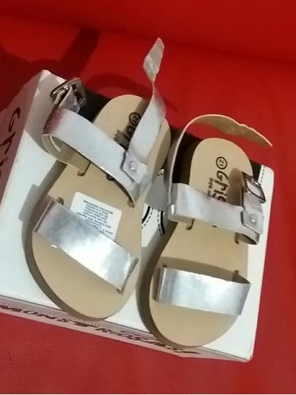 Sandalias Plateadas Cuero Grisino Nena Talle 21