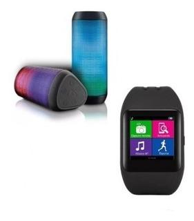 Relógio Smartwatch Sw1 Bluet + Caixa De Som Bluet Led Light