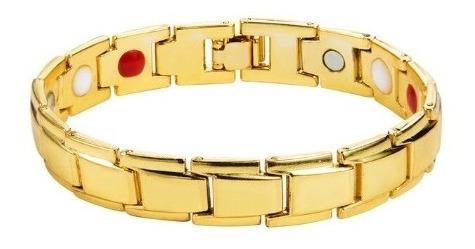 Pulseira Magnética Unissex Dourada Banhada Ouro Aço Inox