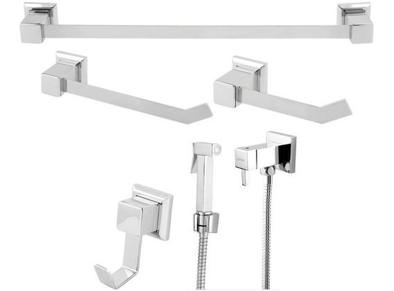 Kit Acessorios Banheiro Quadrado Aço Inox+ Ducha Higienica