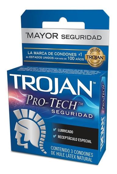 Condones Pro Tech Seguridad Latex Lubricado 3 Pzas Trojan