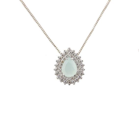 Colar Gotinha Cristal Branco Leitoso Com Zircônias Cl020006