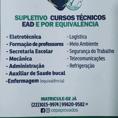 Cursos Técnicos E Supletivo A Distância.