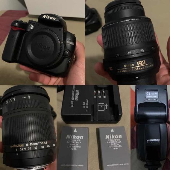 Câmera Nikon D5000 + 2 Lentes + 2 Baterias + Flash