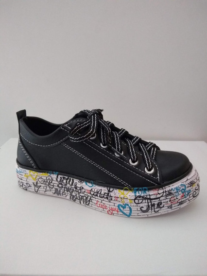 Zapatillas Con Plataforma Base Estampada Grafitti
