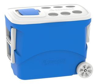 Caixa Térmica Tropical Com Rodas 50 Litros Soprano Azul