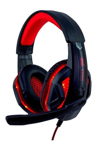 Fone de ouvido gamer Knup KP-396 preto e vermelho