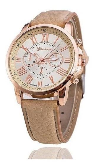 Relógio Feminino Geneva Bege - Promoção