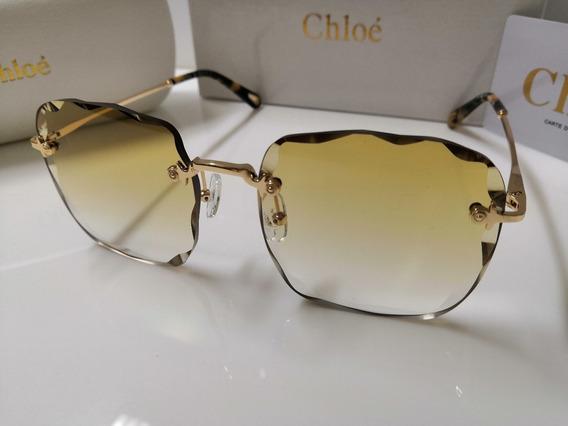 Óculos Sol Chloé Flower Rosie Quadrado Amarelo Transparente