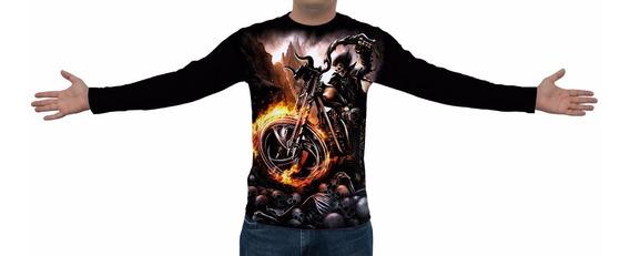 Camiseta Caveira Moto Hell - Manga Longa