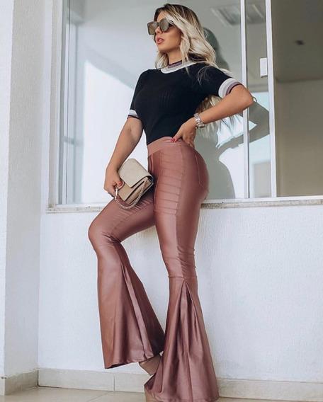 Calça Cintura Alta Hotpants Disco Boca Sino Empina Bumbum